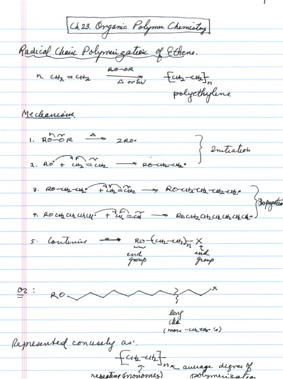 CHAPTER 23: POLYMER CHEMISTRY: NOTES